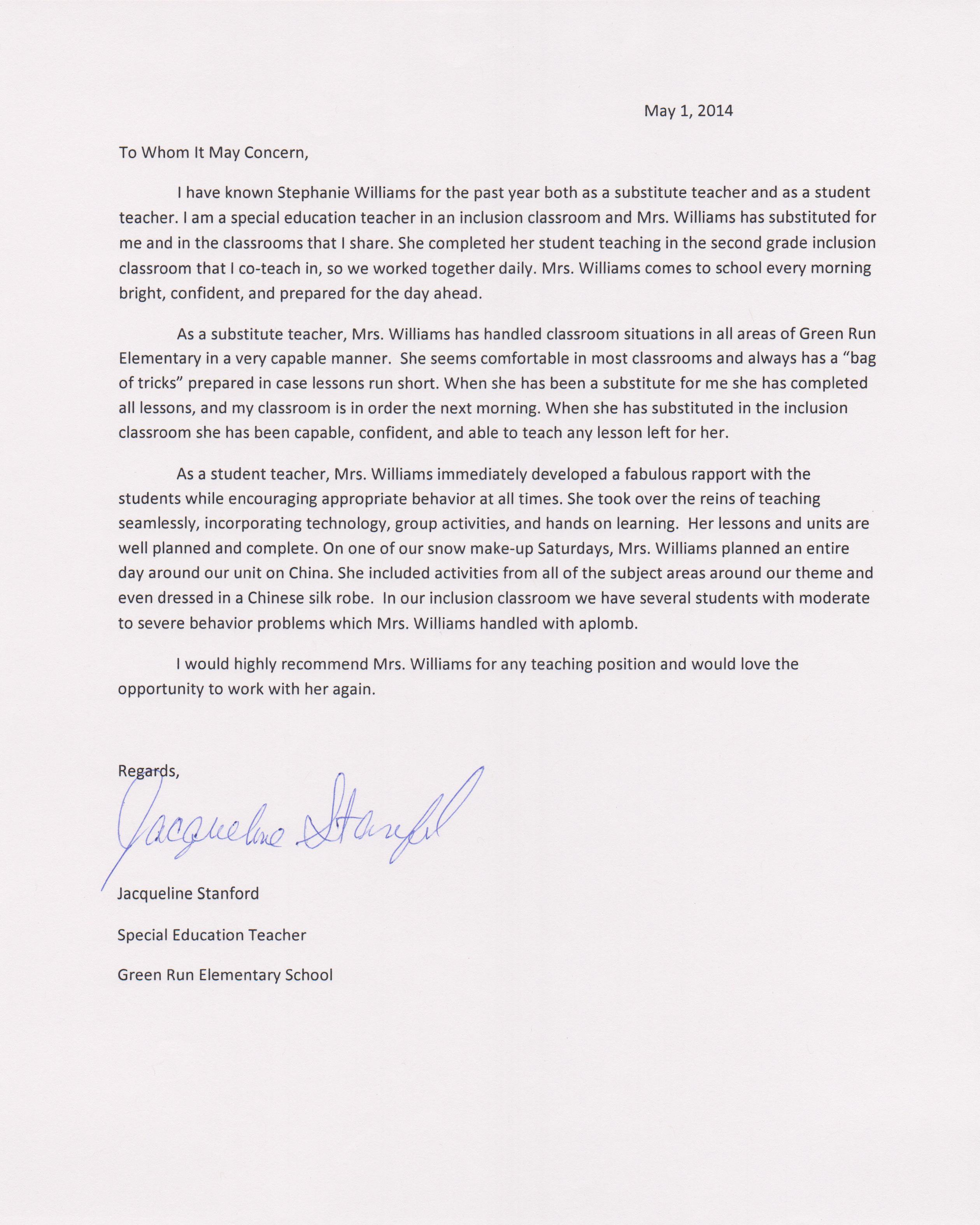 letter of recommendation for special education teacher letter of recommendation